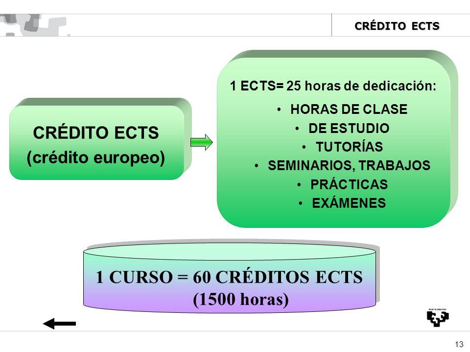13 CRÉDITO ECTS (crédito europeo) 1 ECTS= 25 horas de dedicación: HORAS DE CLASE DE ESTUDIO TUTORÍAS SEMINARIOS, TRABAJOS PRÁCTICAS EXÁMENES 1 CURSO =