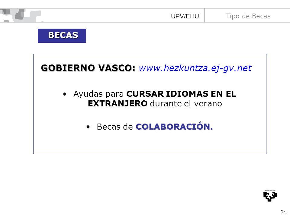24 UPV/EHU Tipo de Becas GOBIERNO VASCO: GOBIERNO VASCO: www.hezkuntza.ej-gv.net Ayudas para CURSAR IDIOMAS EN EL EXTRANJERO durante el verano COLABOR