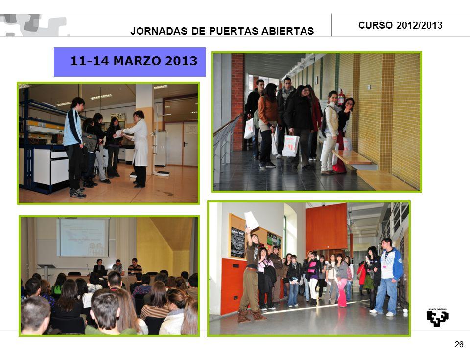 2629 JORNADAS DE PUERTAS ABIERTAS 11-14 MARZO 2013 CURSO 2012/2013