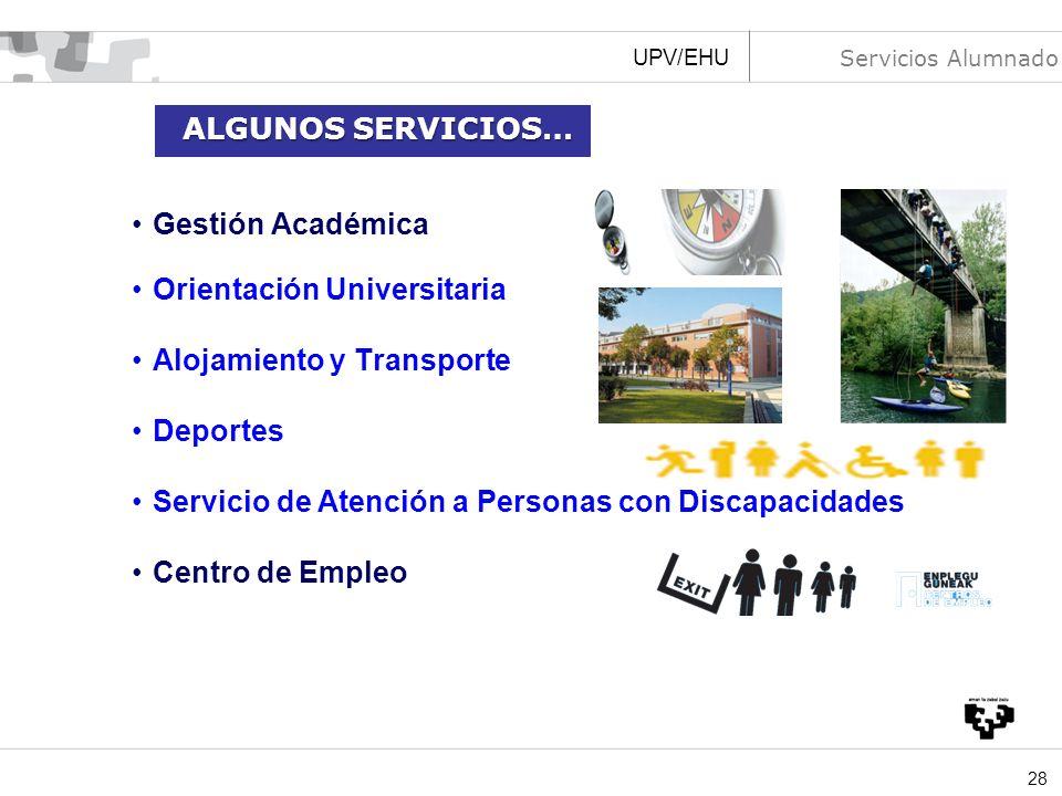 28 Gestión Académica Orientación Universitaria Alojamiento y Transporte Deportes Servicio de Atención a Personas con Discapacidades Centro de Empleo U