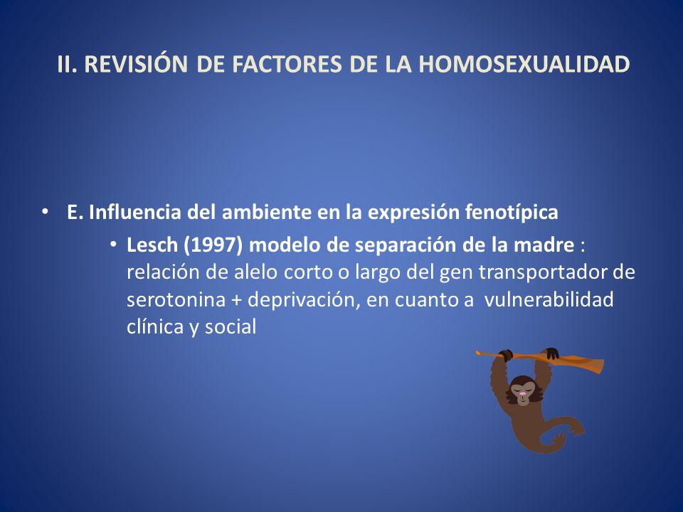 II. REVISIÓN DE FACTORES DE LA HOMOSEXUALIDAD E. Influencia del ambiente en la expresión fenotípica Lesch (1997) modelo de separación de la madre : re