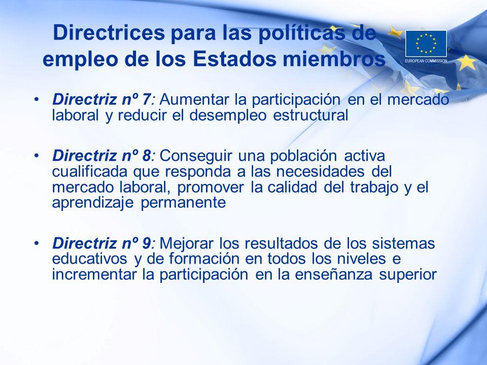 Directrices para las políticas de empleo de los Estados miembros Directriz nº 7: Aumentar la participación en el mercado laboral y reducir el desemple