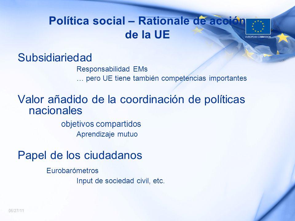 06/27/11 Política social – Rationale de acción de la UE Subsidiariedad Responsabilidad EMs … pero UE tiene también competencias importantes Valor añad
