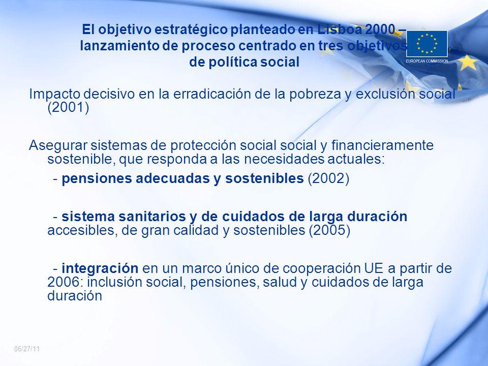 06/27/11 El objetivo estratégico planteado en Lisboa 2000 – lanzamiento de proceso centrado en tres objetivos de política social Impacto decisivo en l