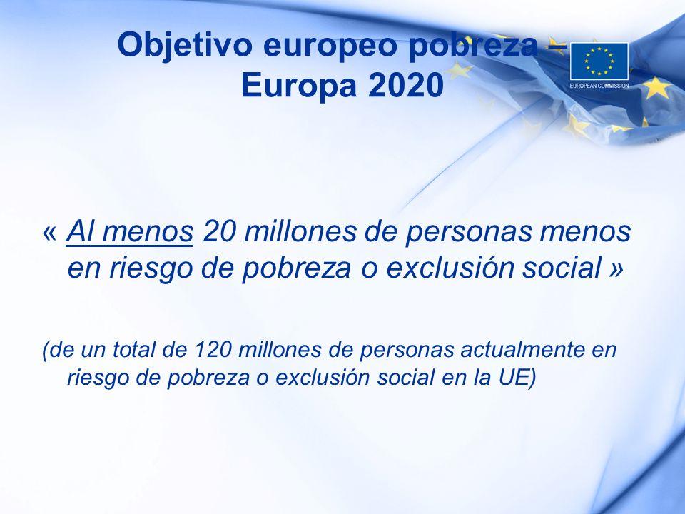 Objetivo europeo pobreza – Europa 2020 « Al menos 20 millones de personas menos en riesgo de pobreza o exclusión social » (de un total de 120 millones