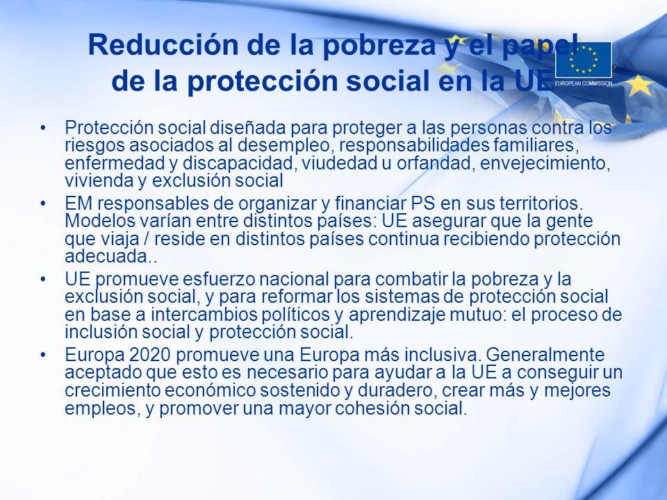Reducción de la pobreza y el papel de la protección social en la UE Protección social diseñada para proteger a las personas contra los riesgos asociad