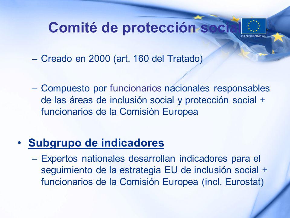 Comité de protección social –Creado en 2000 (art. 160 del Tratado) –Compuesto por funcionarios nacionales responsables de las áreas de inclusión socia