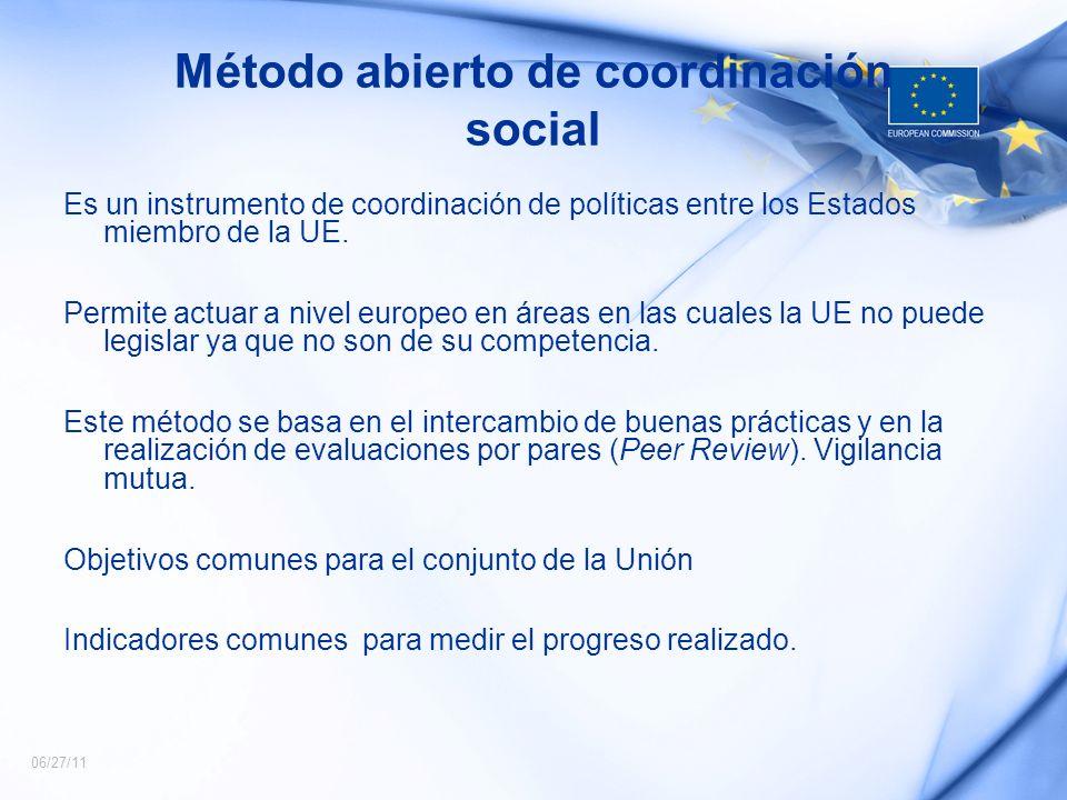 06/27/11 Método abierto de coordinación social Es un instrumento de coordinación de políticas entre los Estados miembro de la UE. Permite actuar a niv