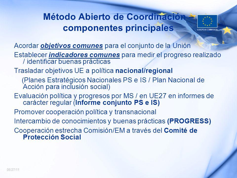 06/27/11 Método Abierto de Coordinación – componentes principales Acordar objetivos comunes para el conjunto de la Unión Establecer indicadores comune