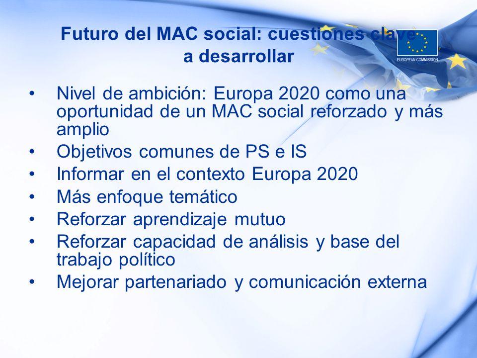 Futuro del MAC social: cuestiones clave a desarrollar Nivel de ambición: Europa 2020 como una oportunidad de un MAC social reforzado y más amplio Obje