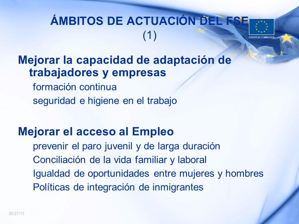 06/27/11 ÁMBITOS DE ACTUACIÓN DEL FSE (1) Mejorar la capacidad de adaptación de trabajadores y empresas formación continua seguridad e higiene en el t