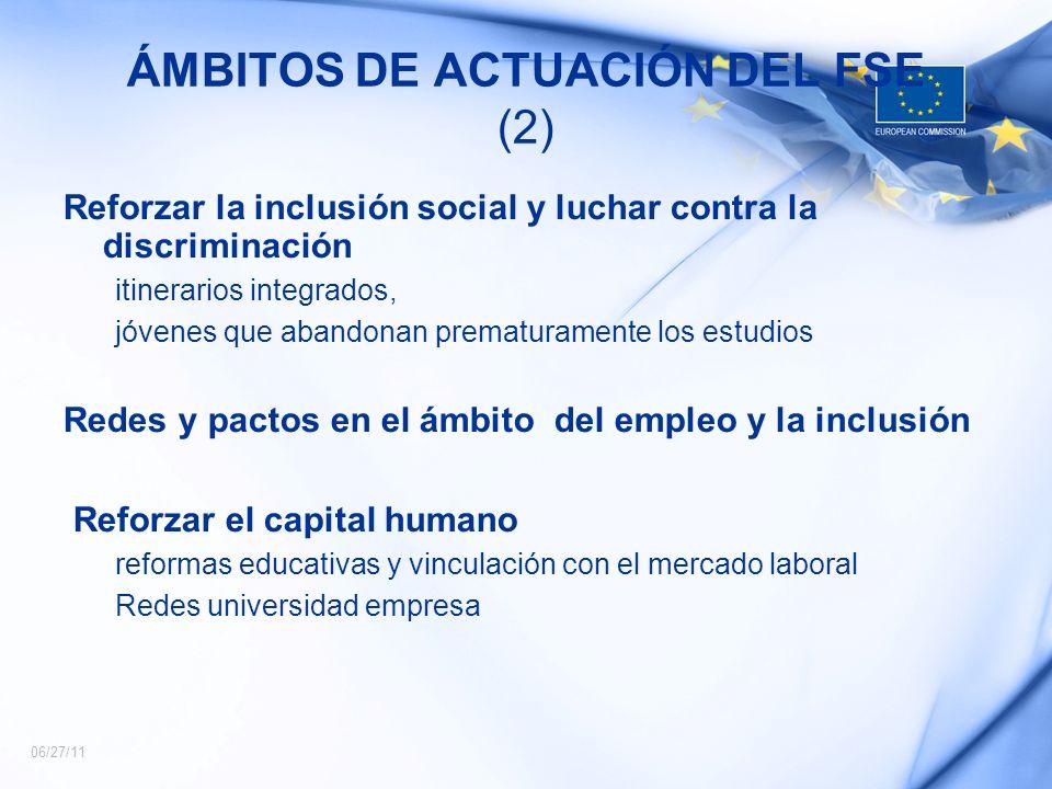 06/27/11 ÁMBITOS DE ACTUACIÓN DEL FSE (2) Reforzar la inclusión social y luchar contra la discriminación itinerarios integrados, jóvenes que abandonan