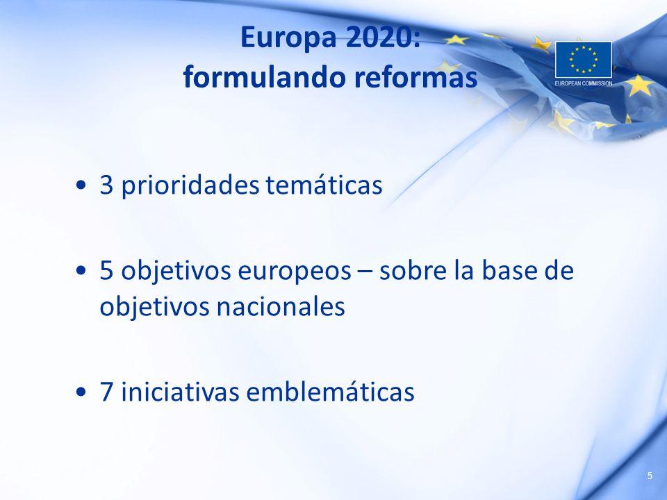 5 Europa 2020: formulando reformas 3 prioridades temáticas 5 objetivos europeos – sobre la base de objetivos nacionales 7 iniciativas emblemáticas
