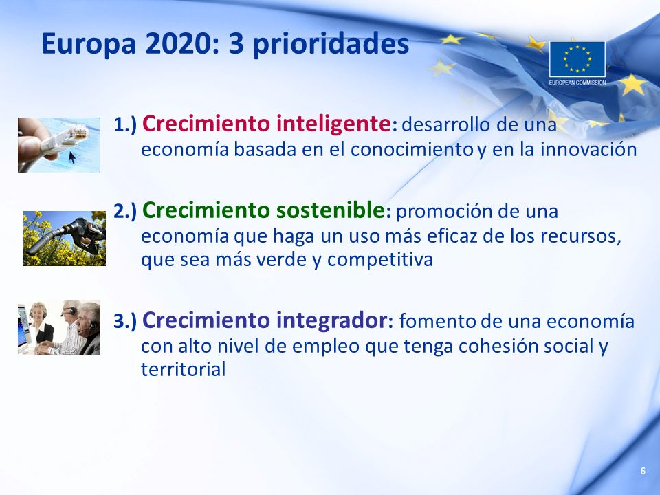 6 Europa 2020: 3 prioridades 1.) Crecimiento inteligente : desarrollo de una economía basada en el conocimiento y en la innovación 2.) Crecimiento sos