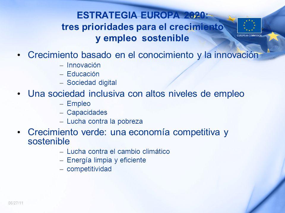 06/27/11 ESTRATEGIA EUROPA 2020: tres prioridades para el crecimiento y empleo sostenible Crecimiento basado en el conocimiento y la innovación – Inno