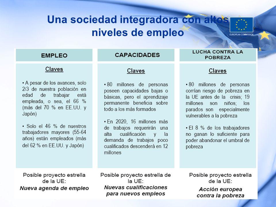 Una sociedad integradora con altos niveles de empleo