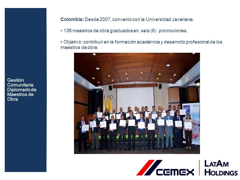 Colombia: Desde 2007, convenio con la Universidad Javeriana: 136 maestros de obra graduados en seis (6) promociones. Objetivo: contribuir en la formac