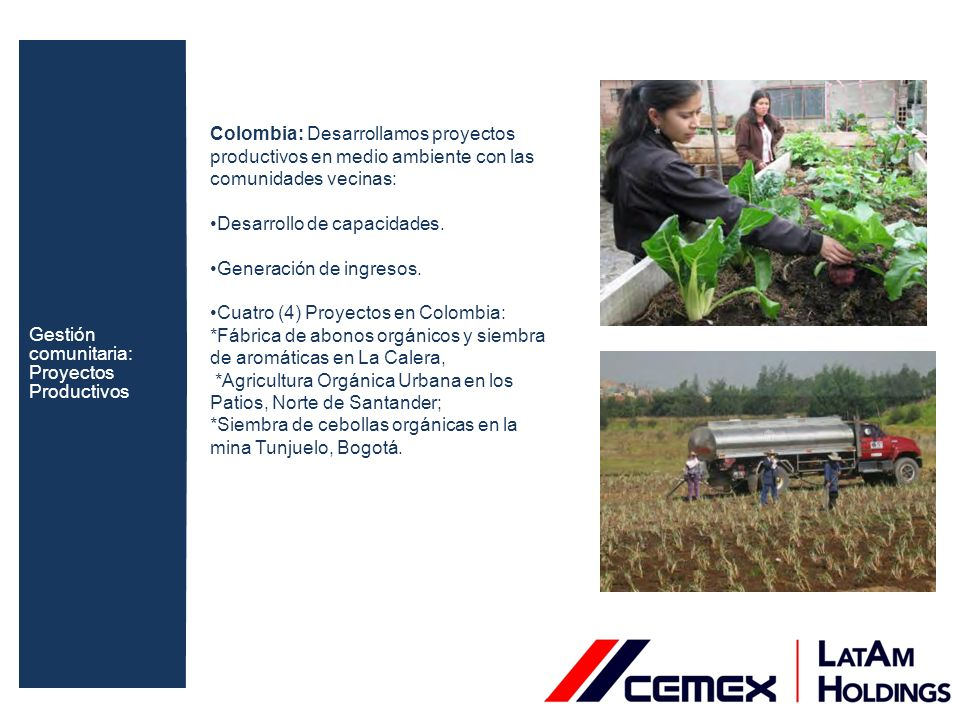 Colombia: Desarrollamos proyectos productivos en medio ambiente con las comunidades vecinas: Desarrollo de capacidades. Generación de ingresos. Cuatro