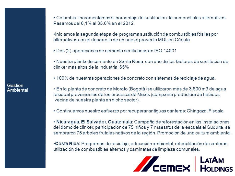 Colombia: Planta Caracolito: sustitución parcial (10%) de combustible fósil (carbón térmico), por biomasas (cascarilla de arroz) Reducción de115.000 toneladas de CO2 desde el 2008 (sacar del parque automotor 23.000 vehículos durante un año).