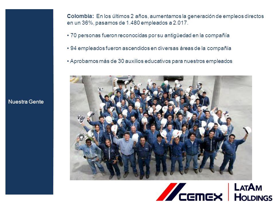 Colombia: En los últimos 2 años, aumentamos la generación de empleos directos en un 36%, pasamos de 1.480 empleados a 2.017. 70 personas fueron recono