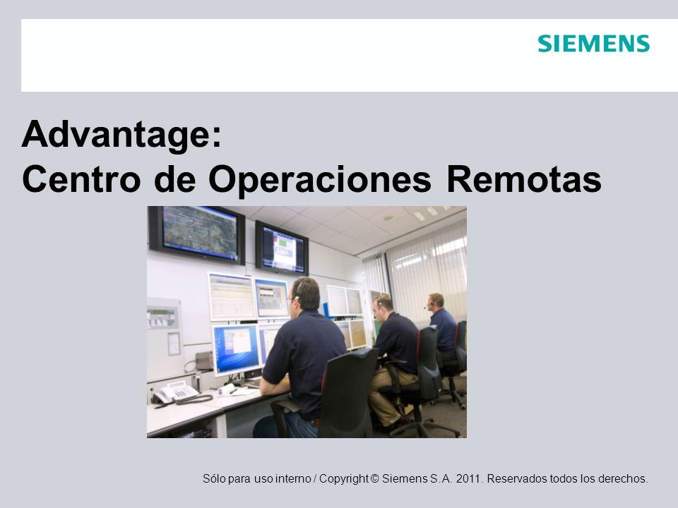 Sólo para uso interno / Copyright © Siemens S. A. 2011. Reservados todos los derechos. Advantage: Centro de Operaciones Remotas