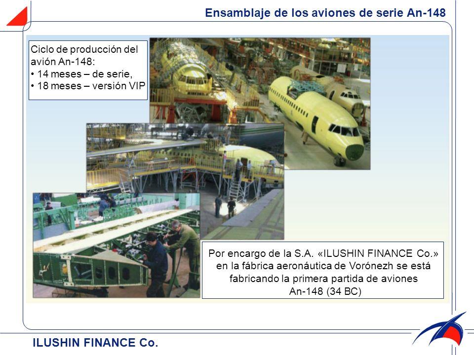 ILUSHIN FINANCE Co. Ensamblaje de los aviones de serie Аn-148 Por encargo de la S.A. «ILUSHIN FINANCE Cо.» en la fábrica aeronáutica de Vorónezh se es