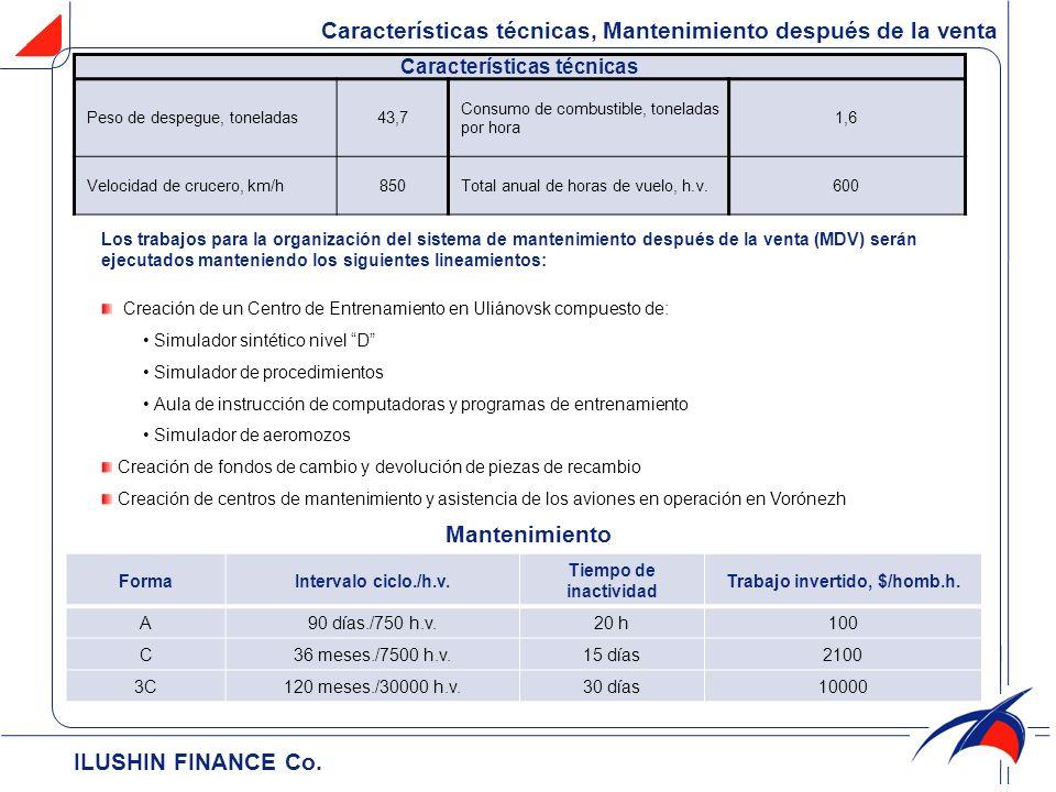 ILUSHIN FINANCE Cо. Características técnicas, Mantenimiento después de la venta Características técnicas Peso de despegue, toneladas43,7 Consumo de co