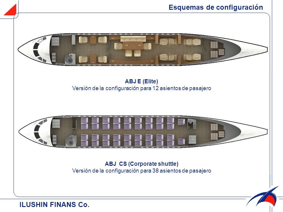 ILUSHIN FINANS Cо. Esquemas de configuración ABJ E (Elite) Versión de la configuración para 12 asientos de pasajero ABJ CS (Corporate shuttle) Versión