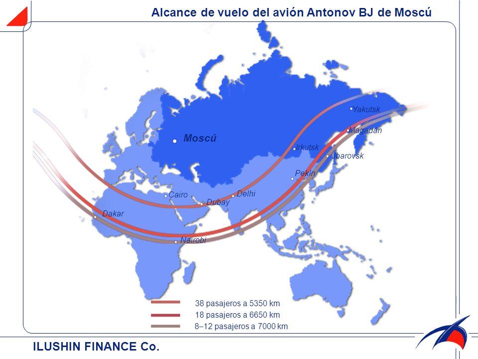Ильюшин Финанс Ко.38 pasajeros a 5350 km 18 pasajeros a 6650 km 8-12 passajeros a 7000 km de Lima.