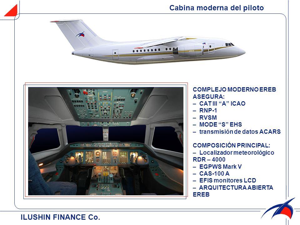 ILUSHIN FINANCE Co. Cabina moderna del piloto COMPLEJO MODERNO EREB ASEGURA: – СAT III A ICAO – RNP-1 – RVSM – MODE S EHS – transmisión de datos ACARS