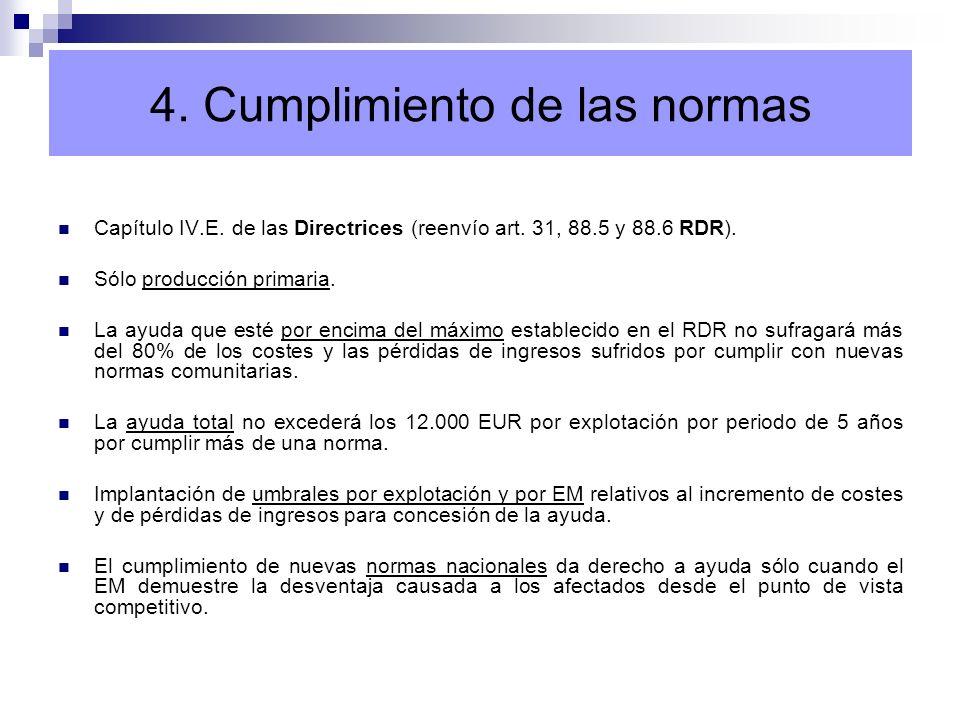 4. Cumplimiento de las normas Capítulo IV.E. de las Directrices (reenvío art. 31, 88.5 y 88.6 RDR). Sólo producción primaria. La ayuda que esté por en