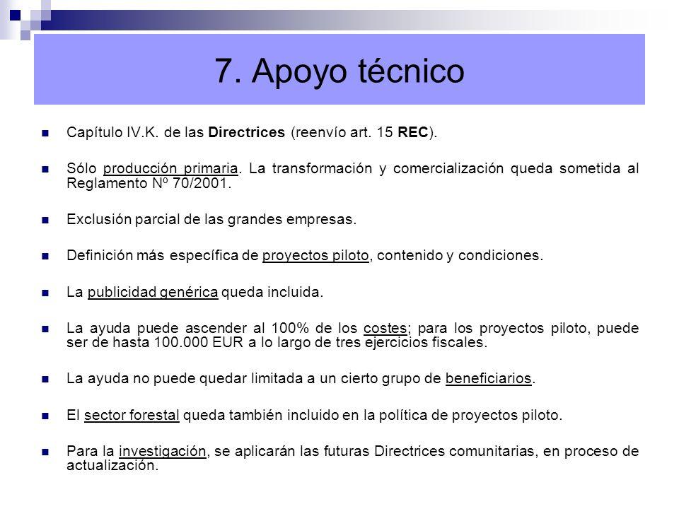 7. Apoyo técnico Capítulo IV.K. de las Directrices (reenvío art. 15 REC). Sólo producción primaria. La transformación y comercialización queda sometid