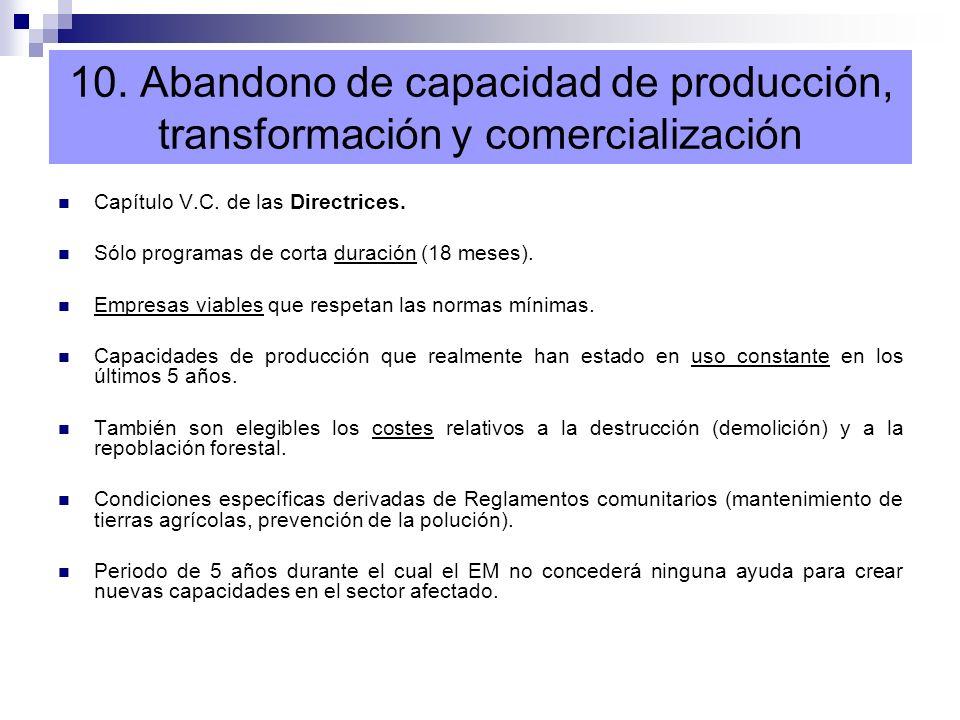 10. Abandono de capacidad de producción, transformación y comercialización Capítulo V.C. de las Directrices. Sólo programas de corta duración (18 mese