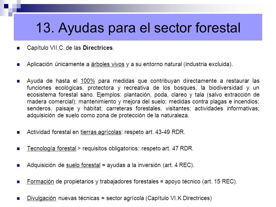 Capítulo VII.C. de las Directrices. Aplicación únicamente a árboles vivos y a su entorno natural (industria excluida). Ayuda de hasta el 100% para med