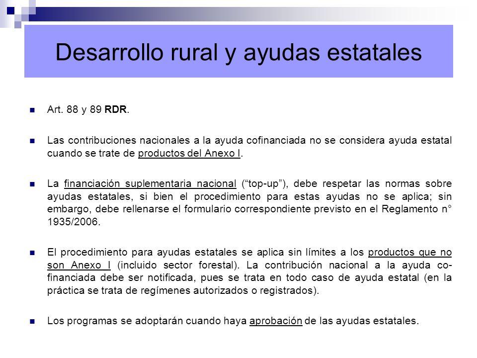 Desarrollo rural y ayudas estatales Art. 88 y 89 RDR. Las contribuciones nacionales a la ayuda cofinanciada no se considera ayuda estatal cuando se tr