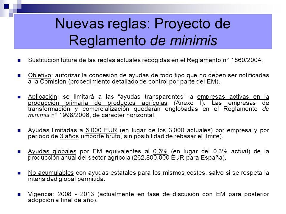 Nuevas reglas: Reglamento de Exención 1857/2006 (REC) Objetivo: evitar a los EM la notificación formal de parte de sus regímenes de ayuda (procedimiento detallado).