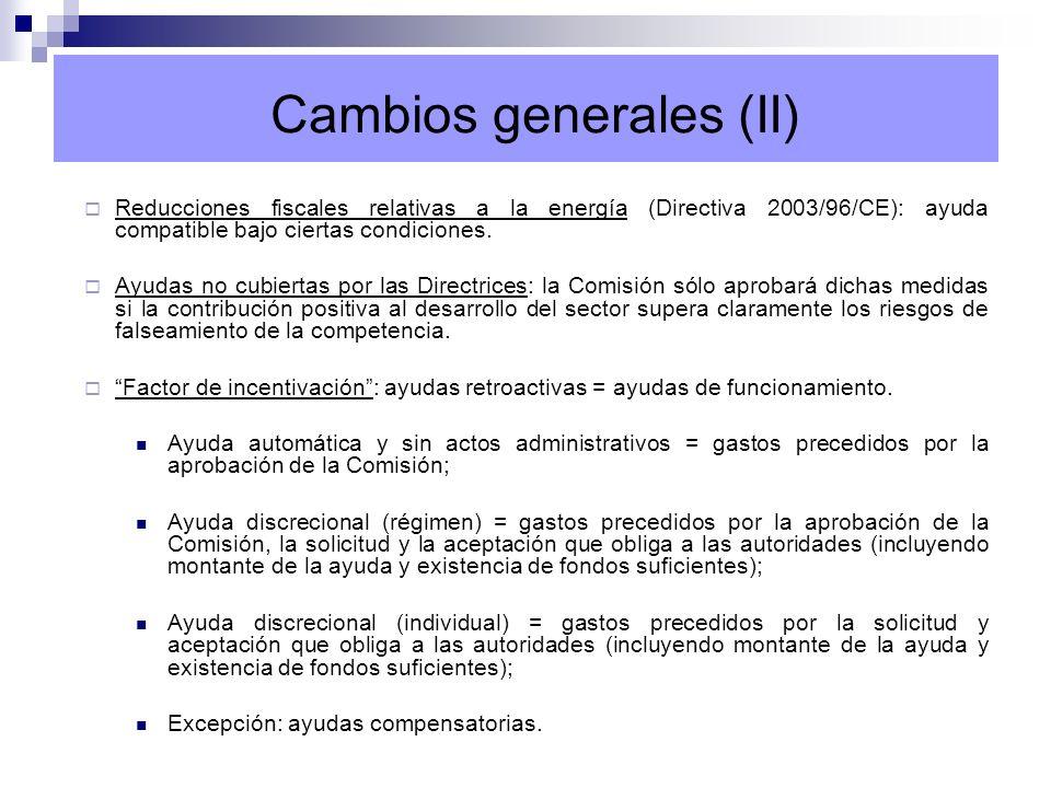 Inversión en explotaciones agrícolas (D, REC) Inversión en el sector de la transformación y comercialización de productos agrícolas (D, Regio) Conservación de paisajes y edificios tradicionales (D, REC) Traslado de edificios agrarios por interés público (D, REC) Medioambiente y bienestar animal (D, RDR) Compensación de desventajas en determinadas zonas (D, RDR) Cumplimiento de las normas (D, RDR) Instalación de jóvenes agricultores (D, RDR) Jubilación anticipada o cese de la actividad agrícola (D, RDR) Agrupaciones de productores (D, REC) Concentración parcelaria (D, REC) Fomento de la producción y comercialización de productos agrícolas de calidad (D, REC, Regio) Prestación de apoyo técnico al sector agrario (D, REC, Regio) Sector ganadero (D, REC) Regiones ultraperiféricas y las islas del Mar Egeo (D) Compensación de daños sufridos por la producción agrícola y/o medios de producción (D, REC) Ayudas para el pago de primas de seguros (D, REC) Abandono de capacidad de producción, transformación y comercialización (D) Publicidad de productos agrícolas (D, RDR) Ayudas vinculadas a exenciones fiscales con arreglo a la Directiva 2003/96/CE (D, Directiva) Salvamento y la reestructuración de empresas en crisis Empleo Investigación y desarrollo Sector forestal (D, RDR, REC) D=Directrices agrícolas; REC=Reglamento de exención; RDR=Reglamento Desarrollo Rural; Regio=Ayudas a finalidad regional.