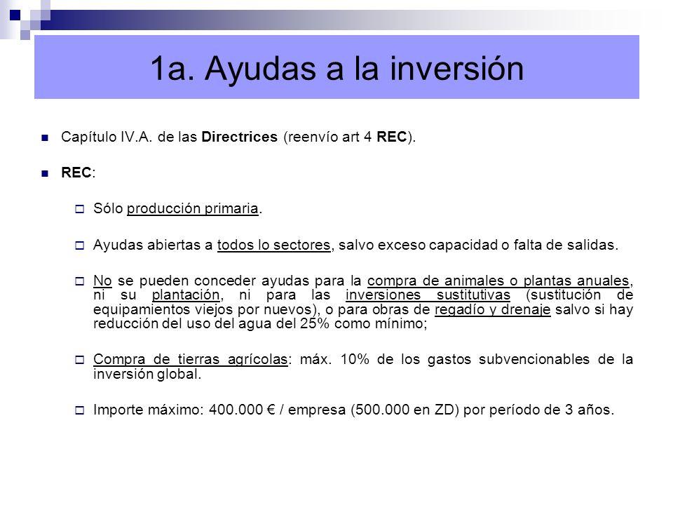1a. Ayudas a la inversión Capítulo IV.A. de las Directrices (reenvío art 4 REC). REC: Sólo producción primaria. Ayudas abiertas a todos lo sectores, s