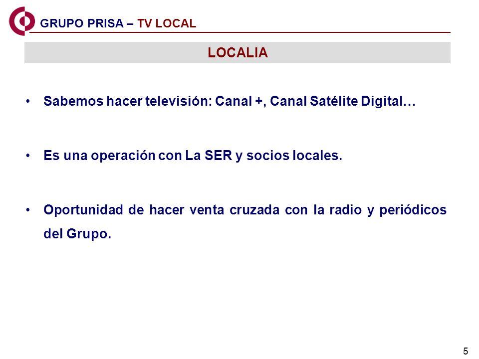 5 GRUPO PRISA – TV LOCAL LOCALIA Sabemos hacer televisión: Canal +, Canal Satélite Digital… Es una operación con La SER y socios locales. Oportunidad