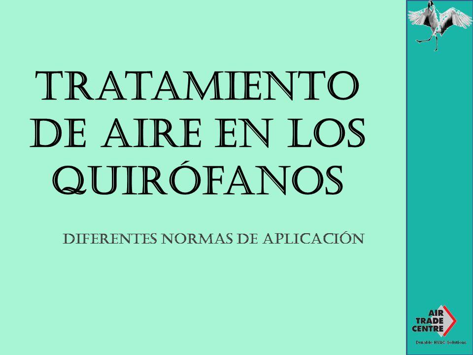 Tratamiento de aire en los quirófanos Diferentes normas de aplicación
