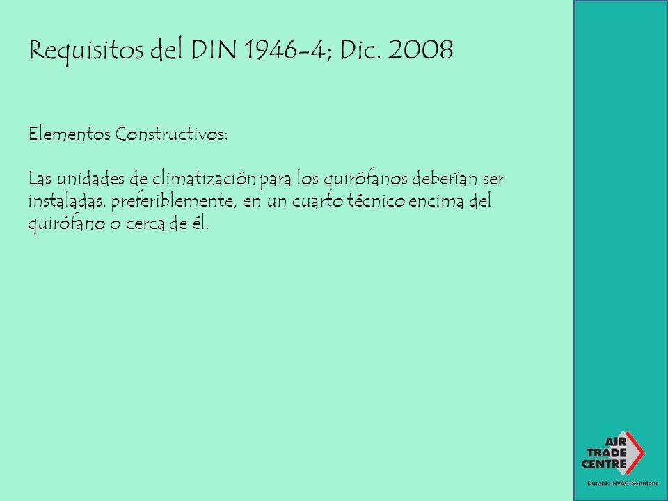 Requisitos del DIN 1946-4; Dic. 2008 Elementos Constructivos: Las unidades de climatización para los quirófanos deberían ser instaladas, preferiblemen