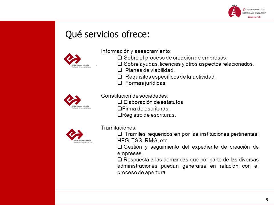 5 Qué servicios ofrece: Información y asesoramiento: Sobre el proceso de creación de empresas. Sobre ayudas, licencias y otros aspectos relacionados.