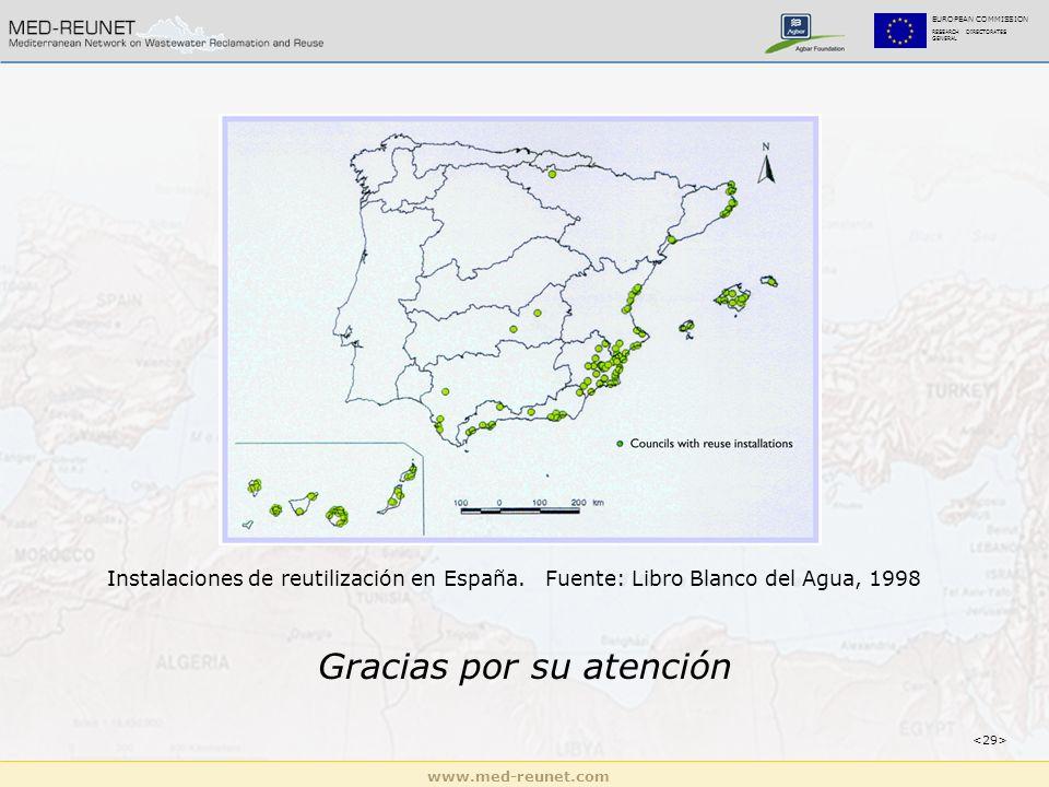 www.med-reunet.com EUROPEAN COMMISSION RESEARCH DIRECTORATES GENERAL Gracias por su atención Instalaciones de reutilización en España.