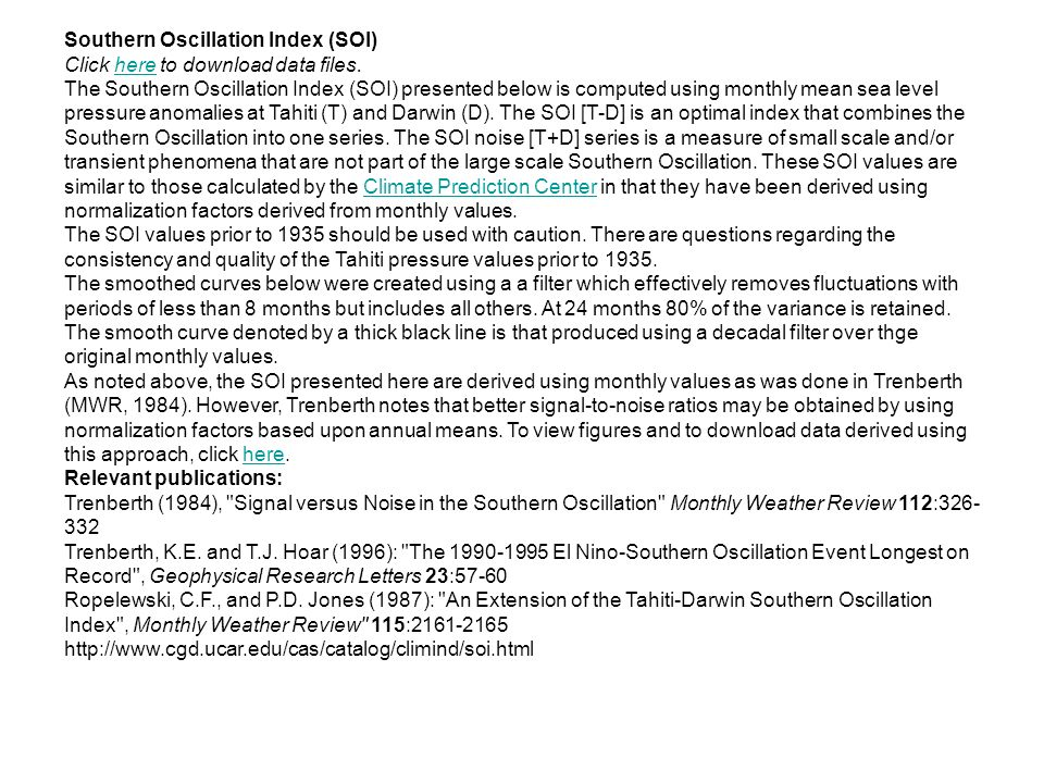 Southern Oscillation Index (SOI) Click here to download data files.here The Southern Oscillation Index (SOI) presented below is computed using monthly