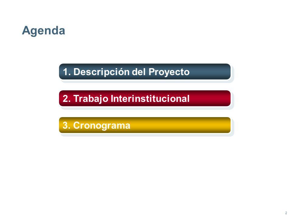 2 Agenda 1. Descripción del Proyecto 2. Trabajo Interinstitucional 3. Cronograma