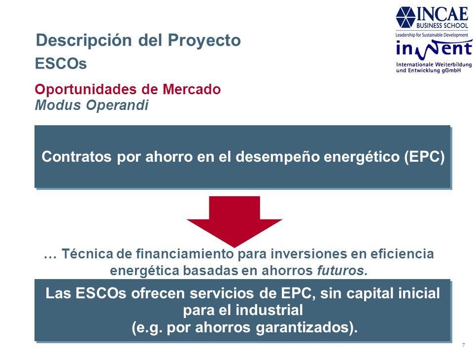 7 Descripción del Proyecto ESCOs Oportunidades de Mercado Modus Operandi Contratos por ahorro en el desempeño energético (EPC) Las ESCOs ofrecen servi