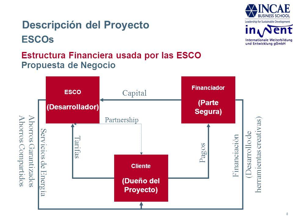 8 Descripción del Proyecto Estructura Financiera usada por las ESCO Propuesta de Negocio Financiador (Parte Segura) ESCO (Desarrollador) ESCOs Cliente
