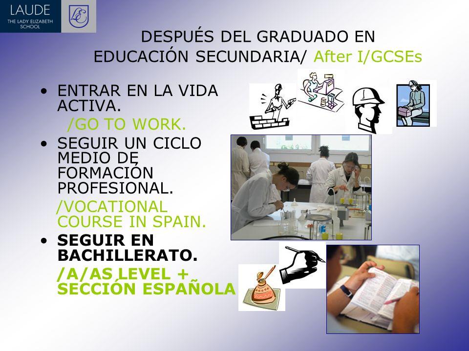 DESPUÉS DEL GRADUADO EN EDUCACIÓN SECUNDARIA/ After I/GCSEs ENTRAR EN LA VIDA ACTIVA.