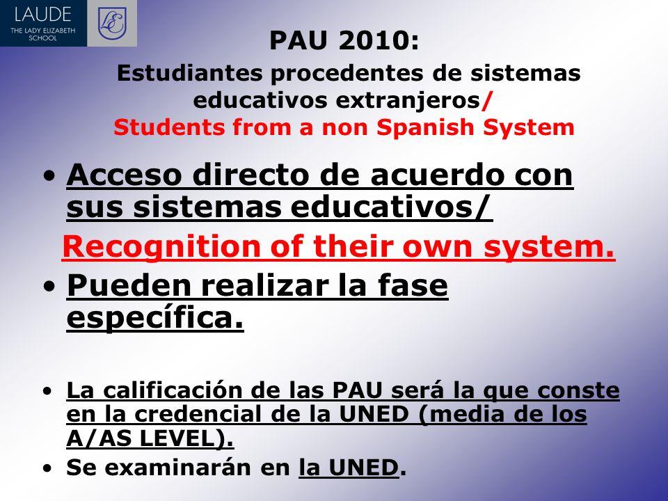 PAU 2010: PRUEBA DE ACCESO A LAS ENSEÑANZAS UNIVERSITARIAS DE GRADO / Entry Exam to Spanish Universities R.D.