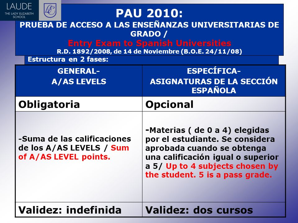 PAU 2010: PRUEBA DE ACCESO A LAS ENSEÑANZAS UNIVERSITARIAS DE GRADO / Entry Exam to Spanish Universities R.D.